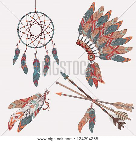 Vector colorful ethnic set with dream catcher feathers arrows and native american indian chief headdress