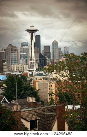 SEATTLE, WA - AUG 14: Space Needle and city downtown on August 14, 2015 in Seattle. Seattle is the largest city in both the State of Washington and the Pacific Northwest region of North America