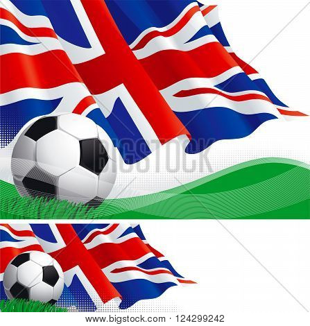 British soccer. Vector background and banner of soccer ball and british flag on green grass.