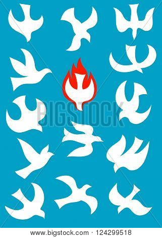 Dove Holy spirit Icon Set, art vector design