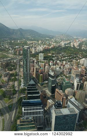 Santiago De Chile Aerial View, Financial District From Sky Costanera, Santiago, Chile.