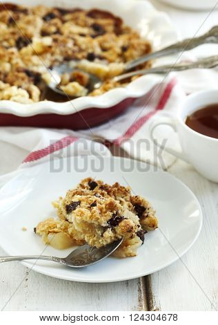 Chocolate pear crumble in a baking dish