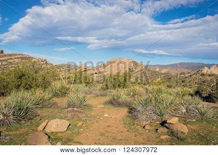 Trail through Mojave desert wilderness at Vasquez Rocks.