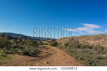 Hiking trail in southern California is a portion Pacific Crest Trail.