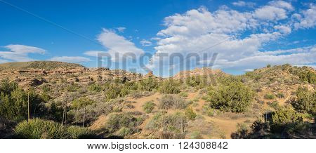 Green brush and large rock outcroppings in Mojave desert of American southwest.