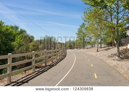 Paseo walking and biking path through residential suburbs of Los Angeles California.