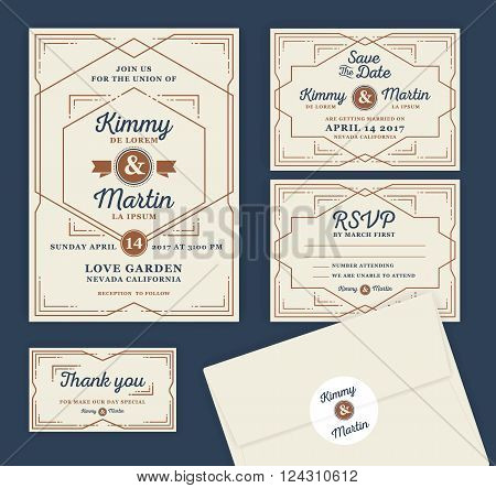Art Deco Letterpress Wedding Invitation Design Template. Include RSVP card Save the date card thank you tags. Classic Vintage Style Frame Vector illustration.