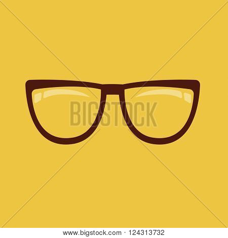 Eyeglasses icon. Brown eyeglass on yellow background. Vector illustration. Flat design style