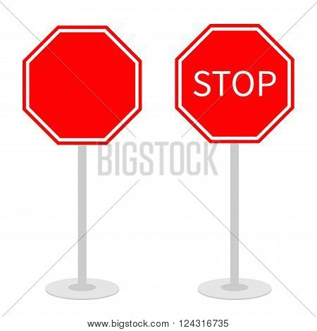 Stop traffic warning road sign set with stand. Prohibition no symbol. Template Isolated on white background. Flat design Vector illustration