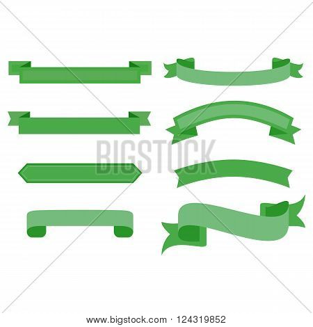 This is a green ribbon set Vector illustration