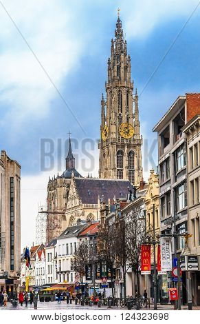 Antwerp Cityscape And Cathedral Of Our Lady Tower