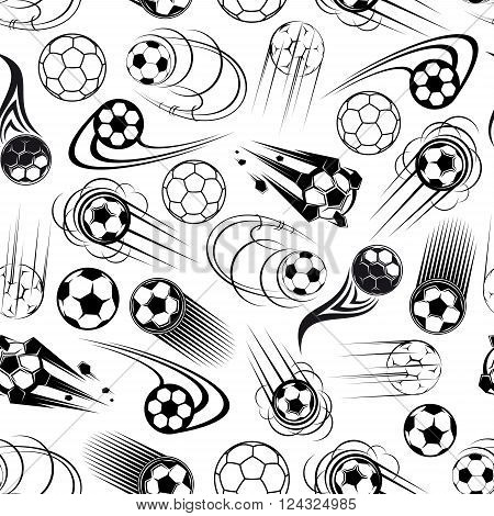 Black and white football or soccer seamless pattern for sports club or competition theme design with speedy flying soccer balls, decorated by cartoon motion trails and flaming elements