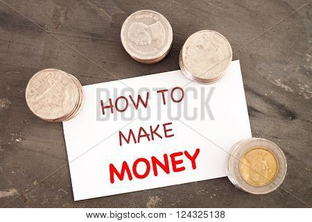 How to make money inspirational quote, stock photo