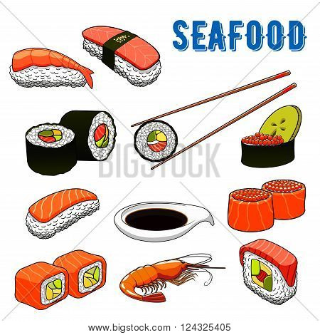 Japanese traditional sushi menu with maki rolls and nigiri sushi with salmon, tuna and bowl of red caviar, prawn, avocado and cucumber, bowl of soy sauce and chopsticks. Japanese seafood cuisine, sushi bar or seafood restaurant menu themes design