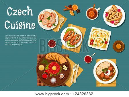 Traditional czech steak tartare served on plate with raw egg yolk, toasted bread and condiments and sirloin with dumplings, pickled sausages with pickles and spicy fried bread, strawberry dumplings and pancakes filled with fruits, beer bottle