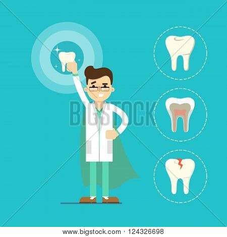 Dentist cartoon character vector illustration. Dentist with dental tools and tooth icon around. Infographics of dentist work. Vector tooth. Dentist tools. Dental care concept. Ad for dental clinic or dentist office. Tooth health concept. Dental background