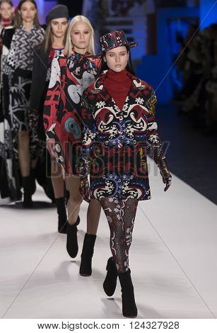 New York City USA - February 11 2016: Isis Bataglia walks the runway during the Desigual Women's show as a part of Fall 2016 New York Fashion Week