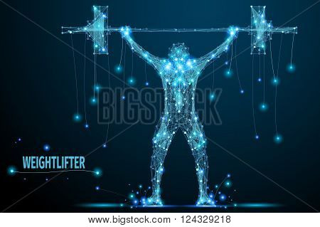 Abstract weightlifter with cybernetic particles. Polygonal digital background. Point and curve constructed the weightlifter silhouette wireframe.