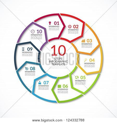 Infographic circle template. Simple vector concept banner with 10 options, steps, parts. Can be used for graph, report, presentation, diagram, chart, web design