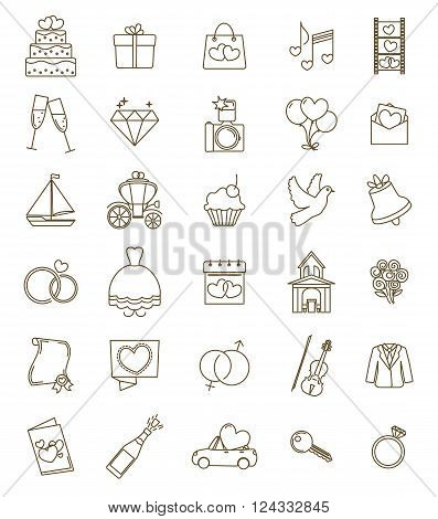 Thin line icons wedding set. Outline with adjustable stroke. Engagement and marriage ceremony accesories objects symbols. Vector