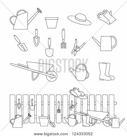 set of gardening tools symbols and a composition with a fence. outline vector illustration with adjstable stroke.