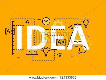 Idea concept flat line design with icons and elements. Modern idea concept vectors collection. Thin line flat design banners for website and mobile website easy to use and highly customizable. Idea concept lettering