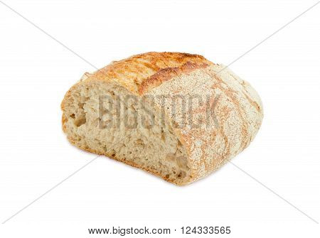 Half loaf of unleavened bread made from wheat and rye meal with bran on a light background
