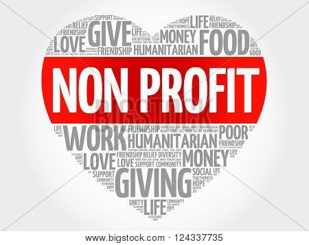 Non Profit word cloud heart concept, presentation background