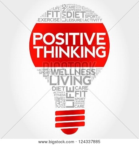 Positive Thinking Bulb Word Cloud