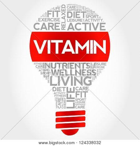 VITAMIN bulb word cloud health concept, presentation background