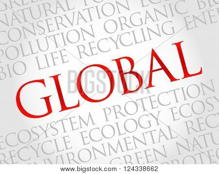 Global word cloud environmental concept, presentation background