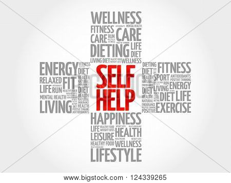 Self Help word cloud health cross concept, presentation background