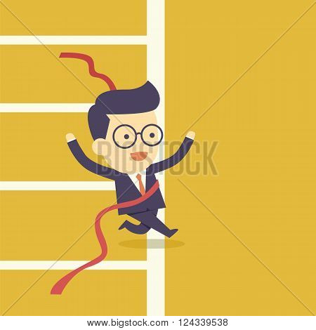 Businessman crossing finish line  the cartoon concept
