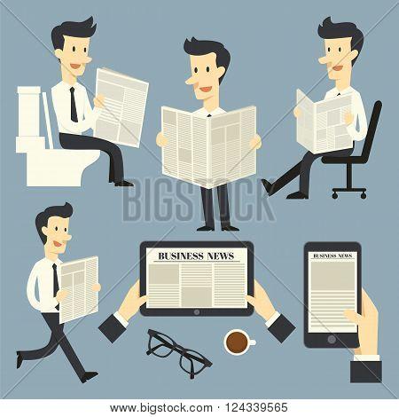 Business news  the cartoon concept reading newspaper