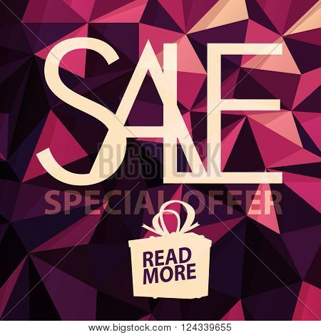 Sale banner on Low Poly Bright Pink Background. Sale template. Big sale. Super Sale and special offer. Triangular