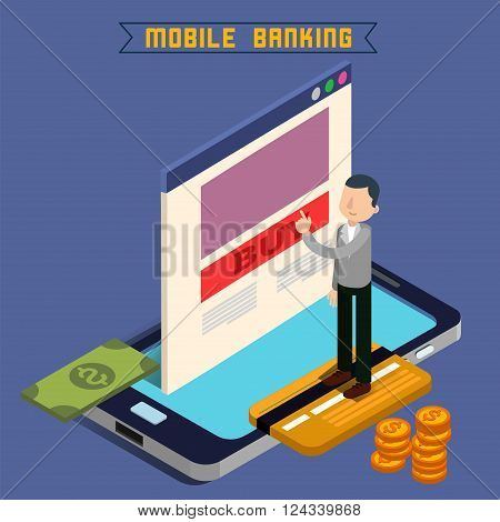Mobile Banking. Isometric Concept. Online Payment. Mobile Payment. Money Transaction. Online Banking. Security Deposit. Finance Investment. Internet Banking. Vector illustration
