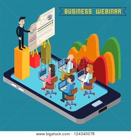 Business Webinar. Webinar Technology. Web Seminar. Modern Technology. Modern Education. Educational Process. Network Education. Business Meeting. Isometric People. Isometric Concept. Vector illustration
