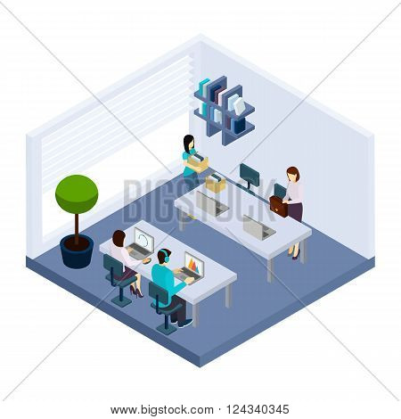 Coworking employees sharing working space sitting in modern business office together isometric banner design abstract vector illustration