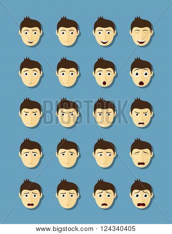 set of man's faces with different emotions flat style illustration