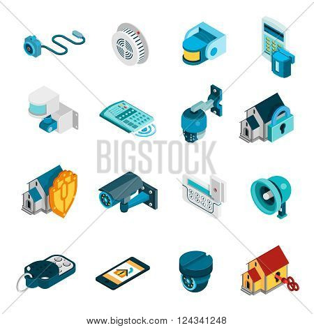 Security system isometric icons set with alarm and camera symbols isolated vector illustration