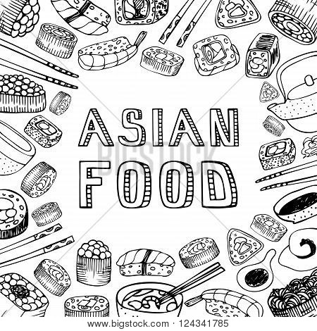 Asian Food Background.