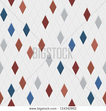 Seamless pattern of small rhombuses in gray colors with some colored rhombus poster