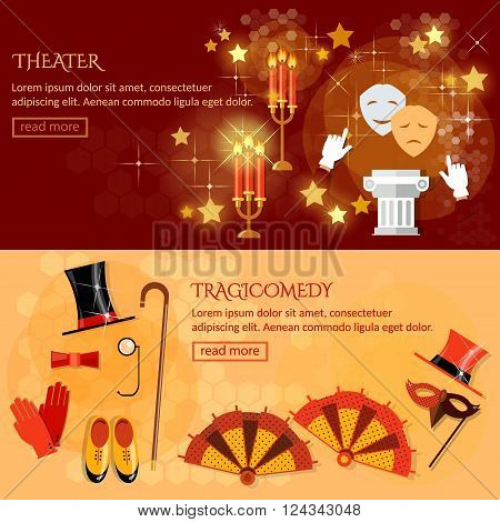 Theater banner performance elements ancient columns theater masks play tragicomedy
