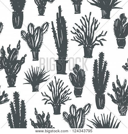 Seamless pattern with hand drawn cactus in a pot. Ink illustration. Silhouette of cactus. Cactus pattern drawn cactus desert plant. Seamless background.