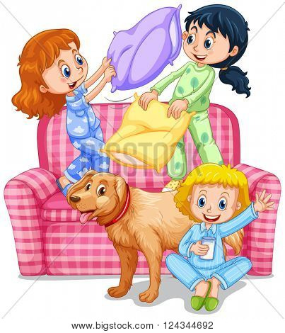 Three girls playing pillow fight at slumber party illustration