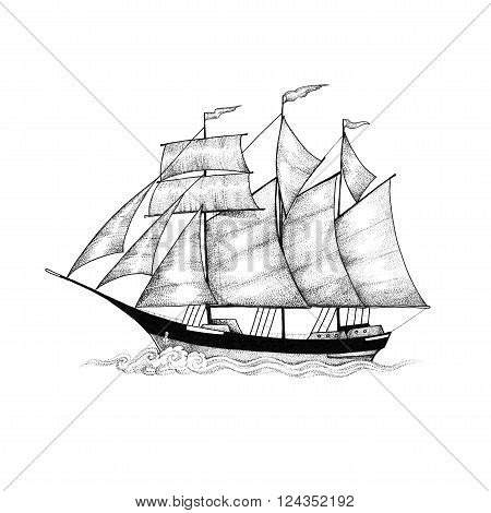 Black and white drawing of a schooner, sailing ship sliding on the waves