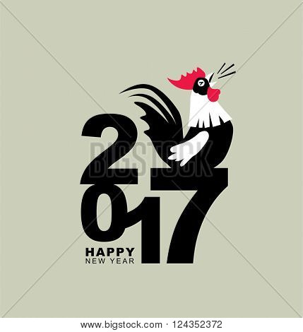 2017 new year card, year of the rooster.