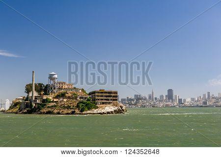 Alcatraz Island And Modern City