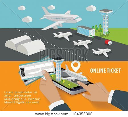 Booking online flights travel or ticket concept. Vector illustration