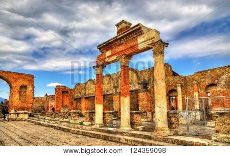 Ancient ruins of the Forum in Pompeii - Italy